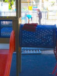 Muslim prayer rug on the slide set: Kindergarten under construction in Jerusalem.
